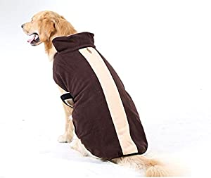 Hiver Veste de manteau chaud pour chien chiot Taille M Chien ou grand chien, animal en polaire pour femme robe sans manches pour femme Fermeture Velcro, marron/kaki (8tailles)