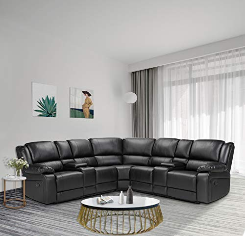 Pannow Symmertrical Reclining Sectional Sofa Sectional Sofa Power Motion Sofa Living Room Sofa Corner Sectional Sofa with Cup Holder, Black Leather