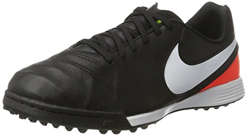 Nike Nike Unisex-Kinder Tiempo Legend VI TF Fußballschuhe, Schwarz (Black/White/Hyper Orange/Volt), 35 EU