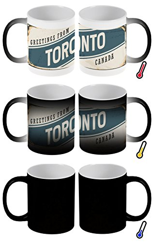 LEotiE SINCE 2004 Zaubertasse Farbwechseltasse Kaffeebecher Tasse Becher Latte Cappuccino Espresso Stadt Toronto Kanada