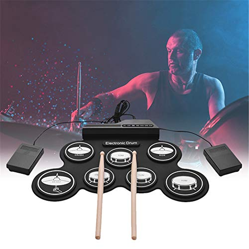 Digital Roll-Up Drum Kit with Foot Pedals Drumsticks, Portable Midi Electronic Set, for Kids, Beginners, Best Gift for Christmas Holiday Birthday