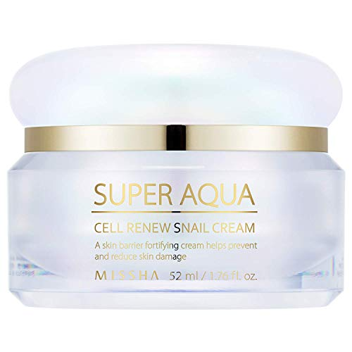 MISSHA Super Aqua Cell Renew Snail Cream 52ml- Anti-aging and brightening formula with 65% snail slime extract providing premium solution to damaged skin