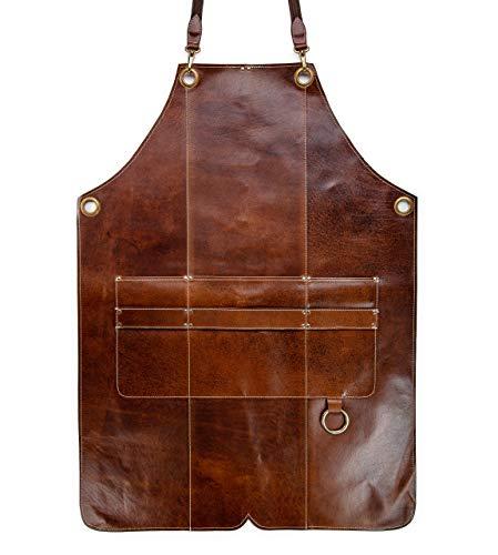 Angus Stoke Premium Lederschürze BOB - Vollleder Grillschürze - Vintage Leder Schürze BBQ & Küche & Bar Bob (S-M)