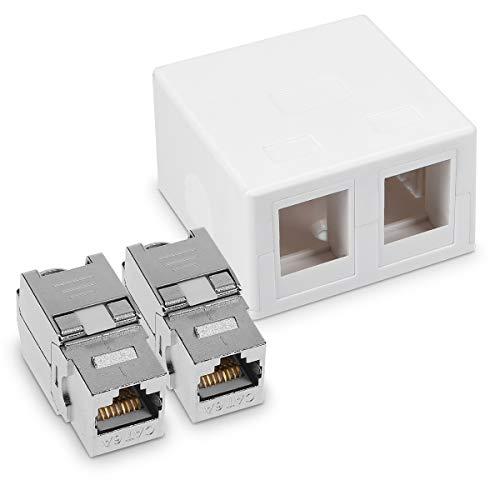 kwmobile 1x CAT 6A Aufputz Netzwerkdose inkl. 2x Keystone Module - 2 Port RJ45 Buchse 10 Gbit/s - Netzwerk LAN Aufputzdose Internetdose Set in Weiß