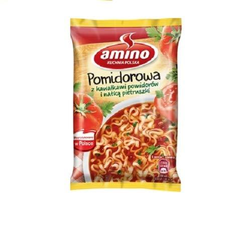 GroßhandelPL Amino Polnische Instant-Nudelsuppe Tomatensuppe mit Petersilie Geschmack 22er Pac (22x61g)