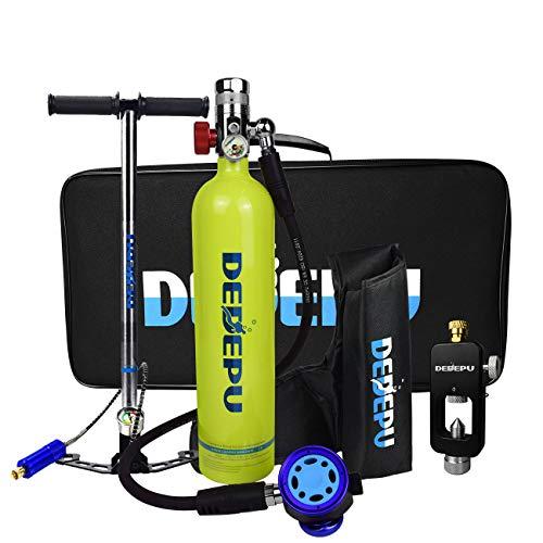 DEDEPU Tanque de buceo portátil de aluminio válvula de respiradero S5000B-Paquete C 1L Cilindro de buceo Equipo de bomba manual ,paquetes de buceo profesionales perfectos