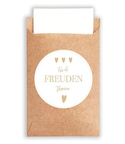 Plantvibes 100 Umschläge & 100 Freudentränen Sticker aus Papier im Vintage-Stil für die Hochzeit, CO2 neutrale kleine Papiertüten mit Aufklebern