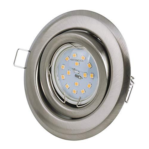 Set Einbaustrahler - schwenkbar - Farbe: Stahl gebürstet - LED 5Watt - 430Lumen - Warmweiss - GU10 230Volt Fassung inklusive