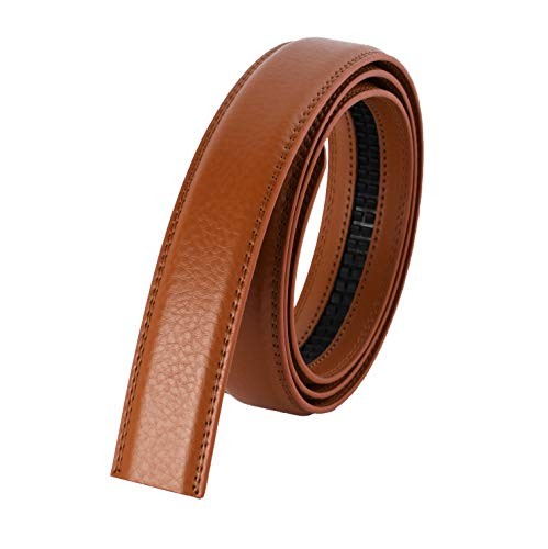 Miuno® Herren Echtes Leder Ersatzgürtel für Automatikschnalle Gürtel 130cm kürzbar (Camel)