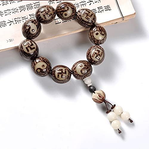 LYWER Natural Bodhi Raíz Tallado Tai Chi Pulsera Jade Bodhi Bodhi Pulsera Hombre Bagua Bagua de Doble Cara Wenwan Regalo de Mano ( Color : A )