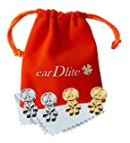 2 Pair Earring Lifters. No Droop. Elegant. Hypoallergenic + Ear Lobe Patches.Velvet Pouch. Cleaning Cloths