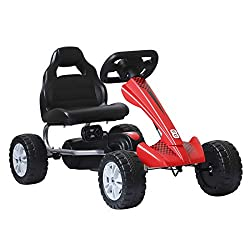 ✅ENDLESS HOURS OF FUN: Foot pedals mean no battery and limited charging time. PLEASE NOTE: This product does not have brakes. ✅EASY TO RIDE: Smooth plastic wheels that allow the kart to go backwards and forwards. For children 3 years old. ✅ERGONOMIC ...