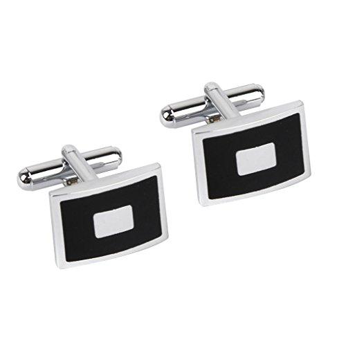 Boutons de manchette classiques (2 pièces) en acier inoxydable, pour homme, par Piercingj , noir/blanc