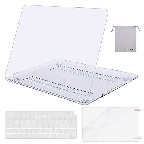 MOSISO MacBook Air 13 inch Case 2019 2018 Release A1932 with Retina Display, Plastic Hard Shell & Keyboard Cover & Screen Protector & Storage Bag Compatible with MacBook Air 13, Crystal Clear