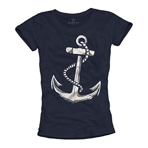 Ausgefallenes Damen T-Shirt mit Anker Aufdruck - Farbe dunkelblau Größe M