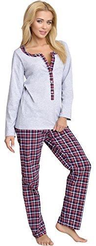 Be Mammy Premamá Pijama Dos Piezas Lactancia Ropa de Cama Maternidad Mujer 1L3C2 (Melange, M)