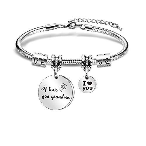 Grandma Grnamother Bracelets from Granddaughter Grandson Women Pendant Bracelets for Nana Christmas Birthday Family Adjustable Charm Bracelet