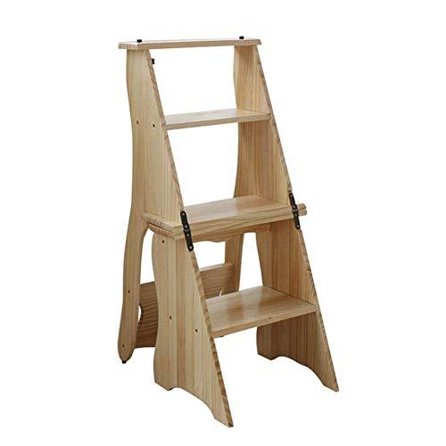 QQXX klapladder stoel trap opstap Herringbone 4-staps kruk rek verdikte multifunctioneel hout, 3 kleuren (kleur: A, grootte: 35x40x85cm) 3 3