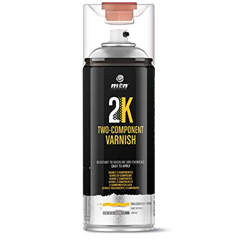 Montana Colors MTN Pro Barniz 2K, 2 componentes con catalizador-Brillo, Spray 400ml Acabado