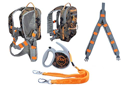 MDXONE Kids Snowboard Ski Harness Trainer with Retractable Leash and Absorb bungees, Winter 20-21 (Camo-Orange)