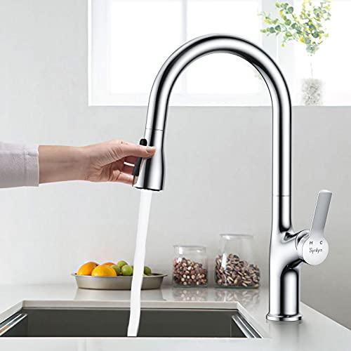 Synlyn Rubinetto da cucina con doccetta estraibile da 40 cm, rubinetto girevole a 360°, miscelatore in ottone, ad alta pressione, miscelatore cromato con 2 tipi di getto