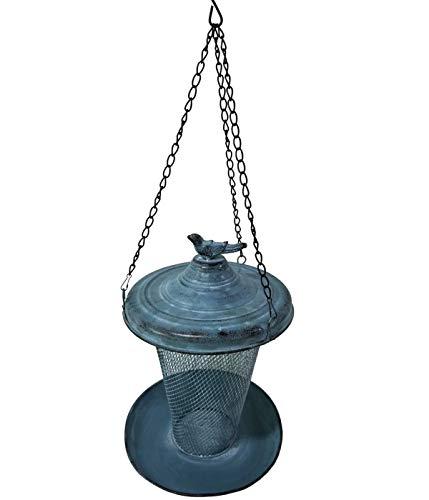 Dehner Natura Sonora Mangeoire pour Oiseaux Sauvages en métal Bleu foncé Ø 21,5 cm Hauteur 29,5 cm