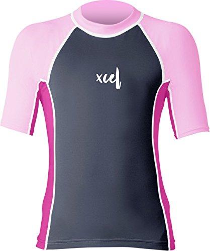 XCEL Niñas Laguna S/UV Top, Gunmetal/Bright Rosa/Rosa, 6
