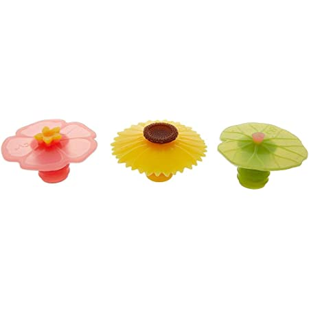 Sunflower Poppy Assorted Floral Bottle Stopper: Hibiscus Grape Charles Viancin Set of 8