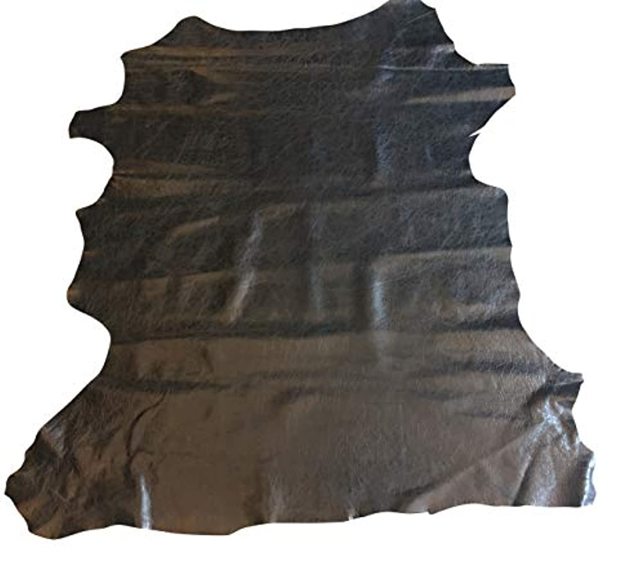Black Leather Hide - Spanish Full Skin - Rustic Finish - 2 oz avg Thickness - Soft Upholstery Fabric - Genuine Thin Lambskin - DIY Supply - Craft Projects - Home Decor Material (6 sq ft, Black)