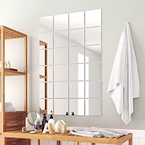 Azulejos de Espejo 24 Unidades Cuadrados vidrioCasa y jardín Decoración Espejos