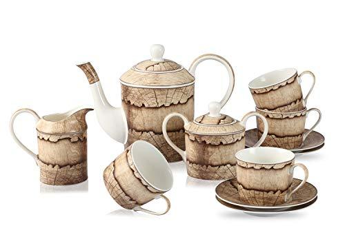 GuangYang Juego de té de porcelana blanca con diseño de madera, 1 tetera, 1 azucarero (450 ml), 1 crema (350 ml), 4 tazas (220 ml) y 4 platillos