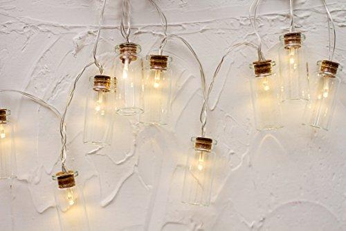 10er LED Glasflaschen Lichterkette Batteriebetrieb Vintage Glas Innen Romantisch Deko Licht Schnur Warmweiß gresonic