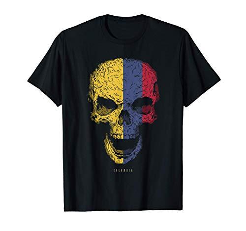 Camiseta Calavera con Bandera de Colombia Cráneo Camiseta