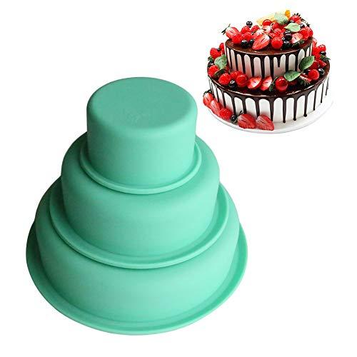 Stampi in Silicone Rotondi per Torte, Set di 3 Stampo Torta Rotondo Tortiera Stampi in Silicone Rotondo Round cake pan per Dolci Antiaderenti Vassoio di Bakeware Stampi di Cottura( 8cm, 15cm, 20cm)