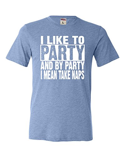 Go All Out XX-Large Blue Adult I Like to Party and by Party I Mean Take Naps Funny Triblend T-Shirt