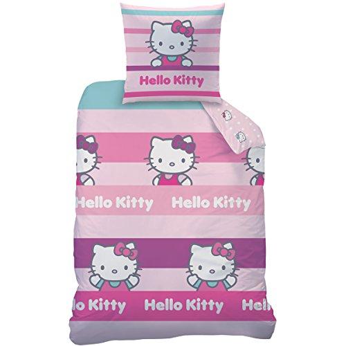CTI 042830 Hello Kitty - Juego de Cama con Funda nórdica de 140 x 200 cm y 1 Funda de Almohada de 63 x 63 cm, algodón y poliéster, 2 Unidades, Color Rosa