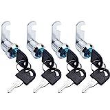 SPTwj - Cerradura de seguridad para buzón (4 unidades, 20mm de longitud, aleación de zinc, cierre de cajón, color plateado Cada candado tiene una llave diferente)