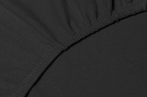 #1 Double Jersey Jersey Spannbettlaken, Spannbetttuch, Bettlaken, 160x200x30 cm, Schwarz - 6
