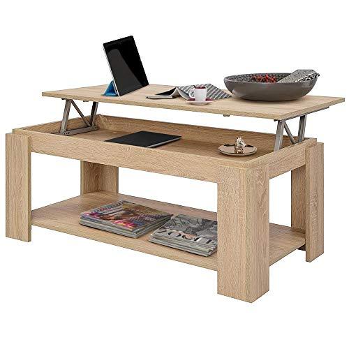 BAKAJI Tavolino da caffè Soggiorno con Rialzo e Contenitore Tavolo Divano Salotto Design Moderno Apribile in Legno Melaminico Dimensione 100 x 50 x 43 cm (Beige)