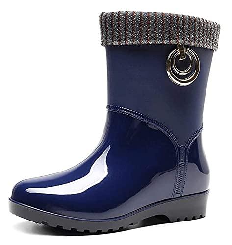 NIANXINN Botas de Lluvia cálida del Tubo Medio de Las Mujeres Forme los Zapatos de jardín a Prueba de Agua Antideslizantes adecuados para otoño e Invierno Botas de Lluvia (Color : Blue, Size : 38 EU)