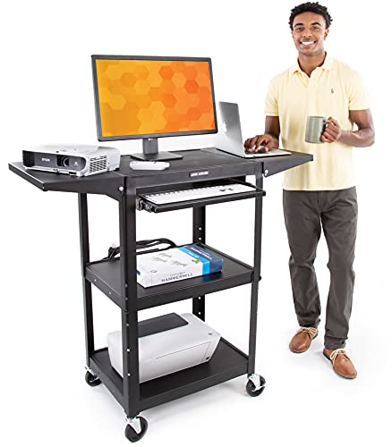 Line Leader AV Cart with Drop Leaf Shelves and Pullout Laptop Tray | Height Adjustable Utility Cart | Includes Power Strip and Cord Management | Great for Presentations (Black / 46 x 18)