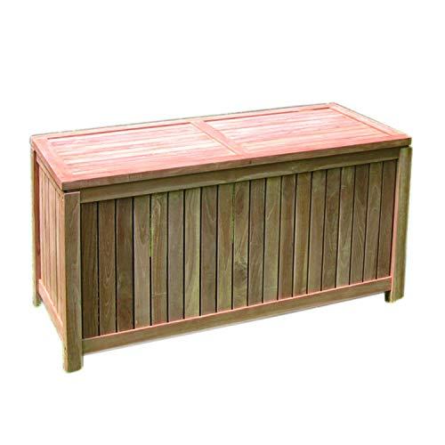 FineHome Teak Kissenbox Auflagenbox Teakbox Gartenbox offene Lattung B 125 x T 55 x H 65 cm