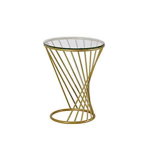 jinrun Tavolinetto da Salotto Tavolino da caffè Rotondo Tavolino da caffè Creativo Tavolino Rotondo da Salotto in Vetro temperato a Spirale Divano Tavolo (Color : Gold, Size : S)