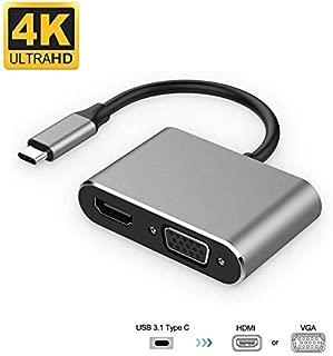 USB Type C HDMI VGA アダプタ,2-in-1 Type C ハブ,HDMI VGA 同時利用可,4K Thunderbolt 3 アダプタ MacBook/Google Chromebook Pixel、Huawei MateなどUSB C デバイス対応…