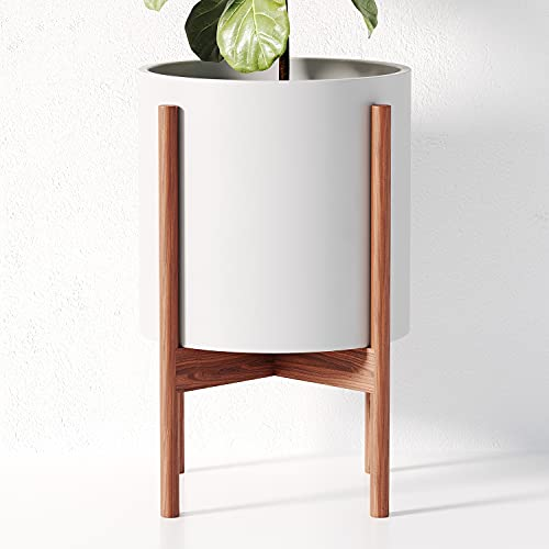 OMYSA Mid Century Plant Stand with Pot Included | White Ceramic 10 Inch Planter with Stand | Modern and Tall Large Indoor Planter Pot for Plants, Trees & Flowers | Plant Holder Set with Drainage Hole