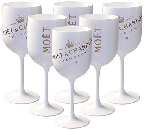 Moët & Chandon Lot de 6 grands verres blancs en acrylique Ice Impérial Édition pour Champagne