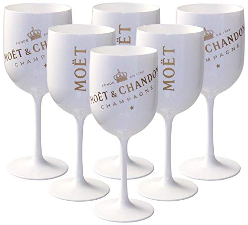 6 x Moët & Chandon Ice Impérial Acryl-Glas Champagner Gläser-Set in weiß/gold Champagne Becher Kelche inkl. Untersetzer (6 Stück)