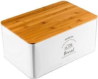 Boîte à Pain en Métal, Boîte à Pain de Rangement avec Couvercle en Bois, Boîte de Stockage Compatible pour des Pains, des ...