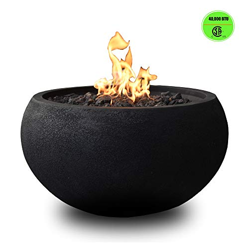Modeno Outdoor Fire Pit Natural Gas Garden Fire Bowl, 40,000 BTU CSA Certified Firepit,Auto-Ignition System, Lava Rock&PVC Cover Included (27 x 27 x 14'', Black)