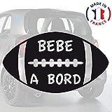 Sticker bébé à bord pour voiture Ballon Rugby Noir 20 cm - Anakiss